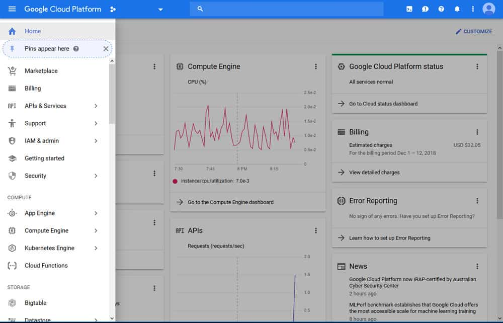google cloud platform dashboard screenshot