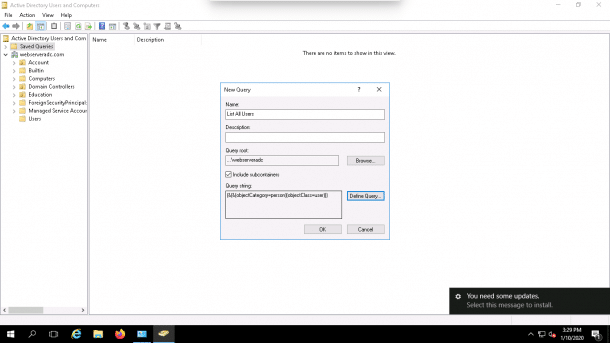 LDAP query Advanced Tab