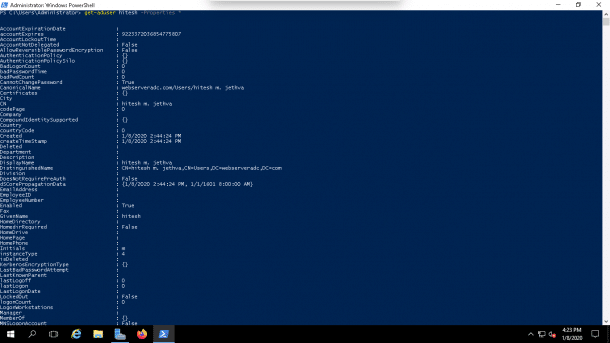 Powershell User Attributes command